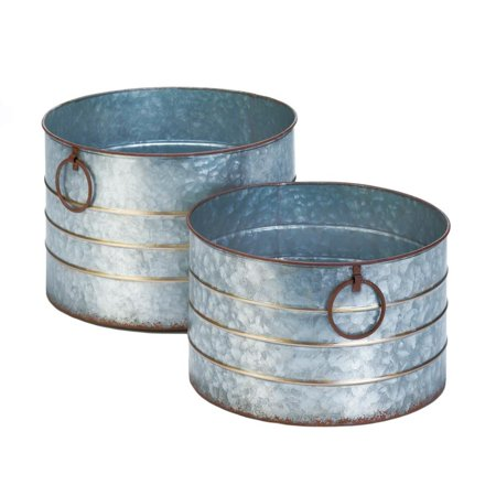 Planters Pots, Round Galvanized Decorative Garden Outdoor Planter Pots, Iron ()