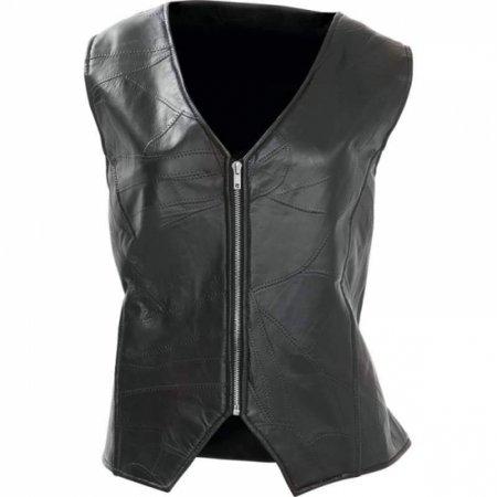 - Diamond Plate Ladies Rock Design Genuine Leather Angel Wing Vest
