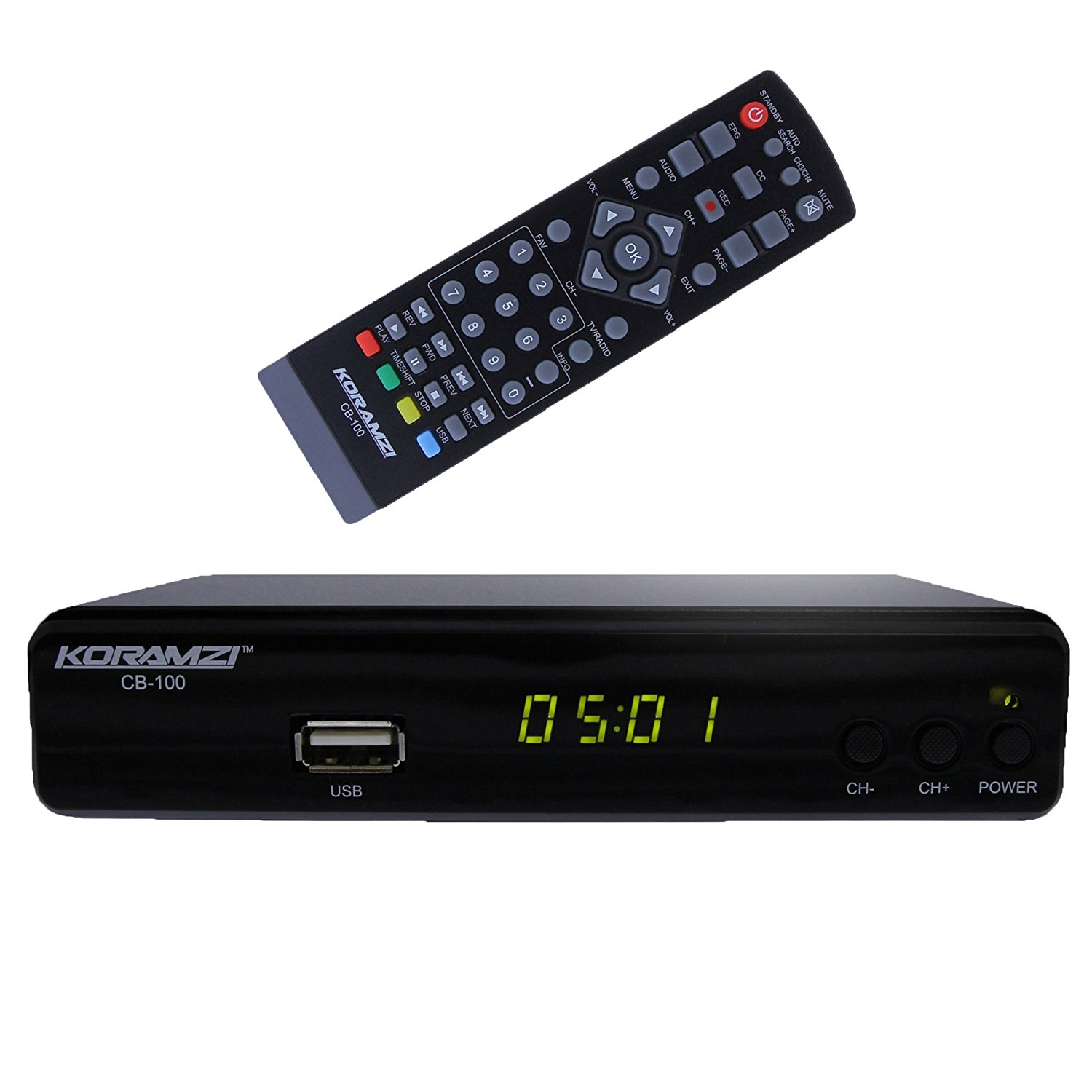 Koramzi CB-100 HDTV Digital TV Converter Box ATSC With USB DVR Recording and Media player PVR Function / HDMI Out / RF In - RF Out / RCA Out / USB Input