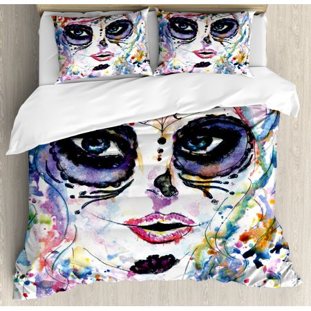 Sugar Skull Decor Queen Size Duvet Cover Set, Halloween Girl with Sugar Skull Makeup Watercolor Painting Style Creepy, Decorative 3 Piece Bedding Set with 2 Pillow Shams, Multicolor, by Ambesonne