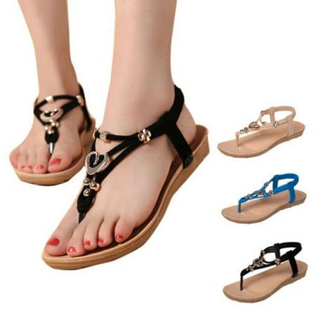 Summer Flip Flop Sandals - Women Summer Shoes Beaded Flip Flops Sandals T strap Ankle Slipper Boho Flat Shoes Women Shoes Size 9