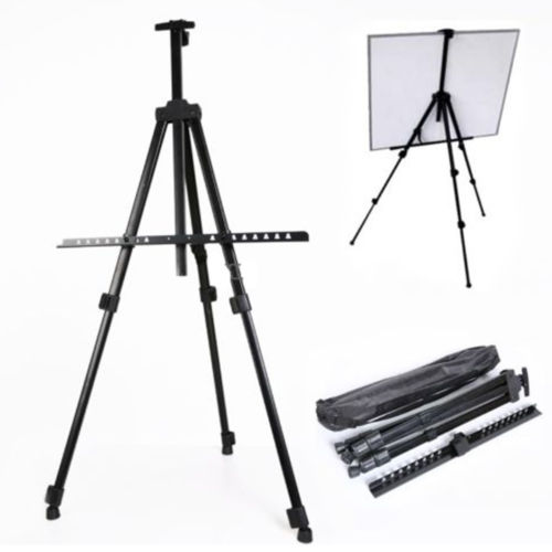 Ktaxon Adjustable Height Folding Art Sturdy Drawing Easel Stand, 63 Inches Tall Telescoping Field Tripod for Tabletop or Floor, Painting Exhibition Whiteboard Holder, Wedding Studio