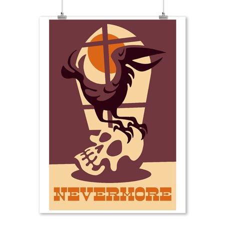 Raven Nevermore - Retro Halloween - Lantern Press Artwork (9x12 Art Print, Wall Decor Travel Poster) - Raven Decor