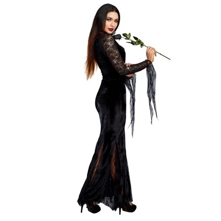 Dreamgirl Frightfully Beautiful Morticia Addams Black Velvet Gown