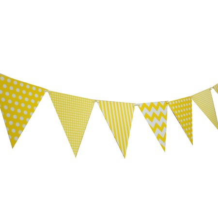 Quasimoon Yellow Mix Pattern Triangle Flag Pennant Banner Decoration (11FT) by PaperLanternStore