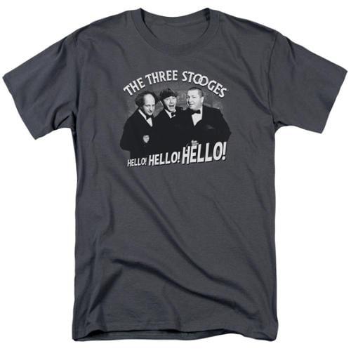 The Three Stooges Hello Again Mens Short Sleeve Shirt CHARCOAL 4X