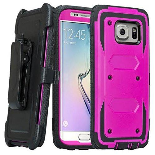 Samsung Galaxy S7 Case, Heavy Duty Hybrid Rotating Swivel Locking Holster Case for Galaxy S7 - Black