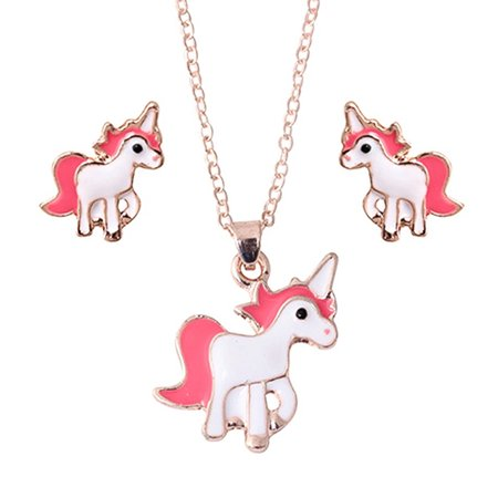 Unicorn Necklace Set White Pink/Red Earring Necklace Unicorn Girls Jewelry, J-154-US (Unicorn Necklace)
