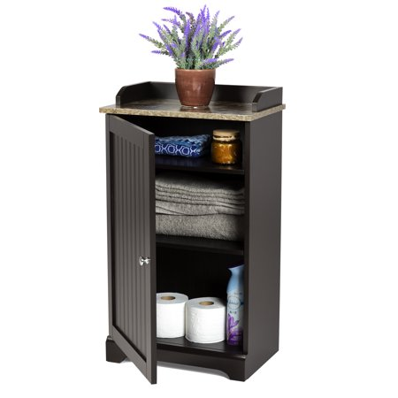 Best Choice Products Modern Contemporary Home Bathroom Floor Storage Organization Cabinet for Linens, Toiletries, Towels, Soap w/ 1 Bottom Shelf, 2 Adjusting Shelves, Versatile Door - Espresso (Contempo Floor Cabinet)
