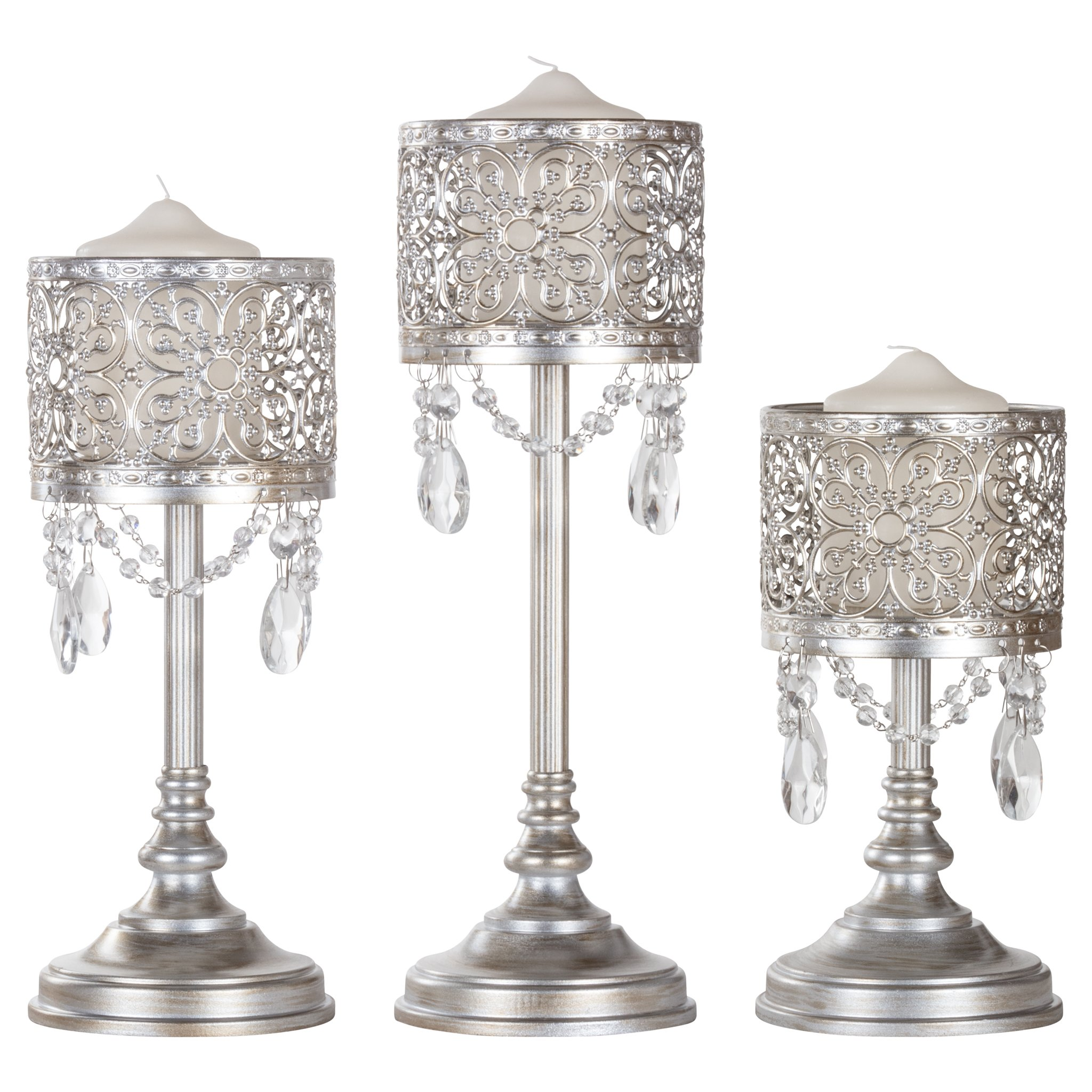 Click here to buy Amalfi Decor 3-Piece Vintage Metal Hurricane Pillar Candle Holder Set (Silver) | Stainless Steel Frame with....