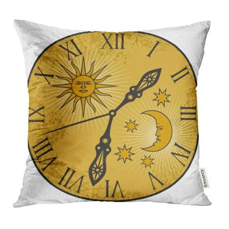 ARHOME Alarm Old Clock Ancient Arrow Awaken Beat Bell Classic Clockwork Pillowcase Cushion Cover 18x18 -