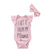 Newborn Baby Girls Floral Romper Bodysuit Jumpsuit Headband Outfits Clothes Set