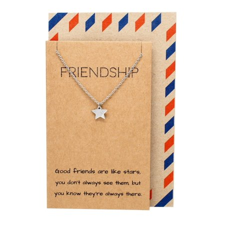 Quan Jewelry Best Friends Necklace Star Pendant Friendship Necklaces and Quote Greeting Card, Silver Tone, 16-in to 18-in