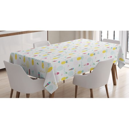 Abstract Tablecloth, Eighties and Nineties Themed Ice Cream and Pineapple Design Retro Illustration, Rectangular Table Cover for Dining Room Kitchen, 60 X 90 Inches, Multicolor, by - Eighties Theme