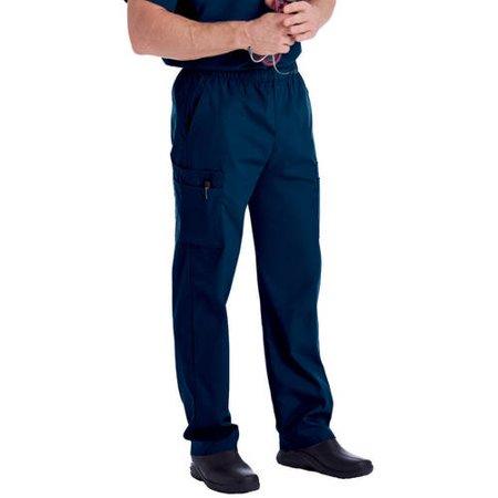 Landau Men's Elastic Waist Cargo Scrub Pant, Style 8555 ()