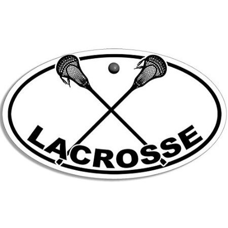 (3x5 inch Oval Lacrosse with Crossed Sticks Logo Sticker (Shaft Ball Play Player))