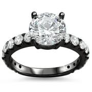 Noori Collection Noori 18k Black Gold 2 1/10ct TDW Round Clarity-enhanced Diamond Engagement Ring