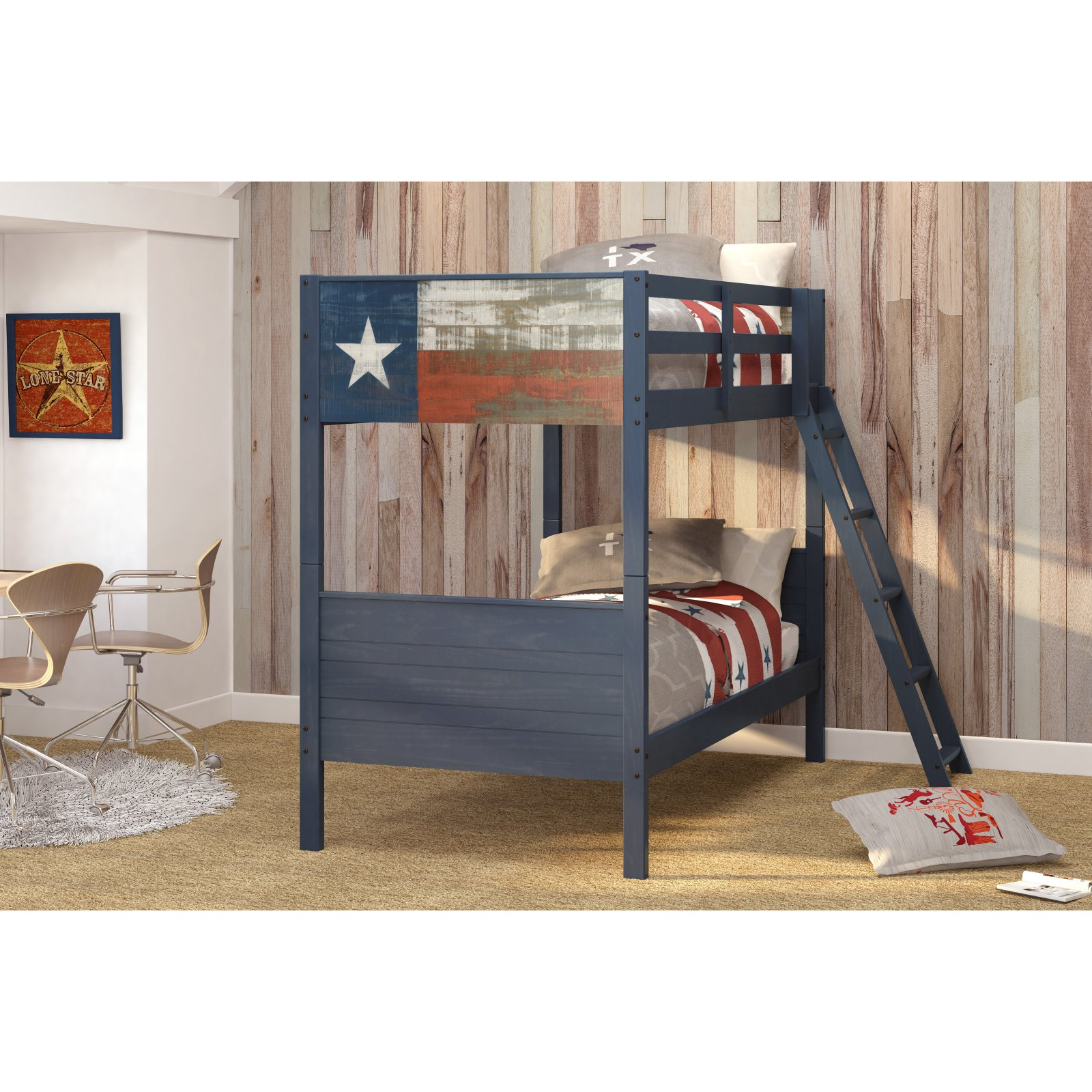 Donco Kids Loan Star Texas Flag Twin over Twin Bunk Bed