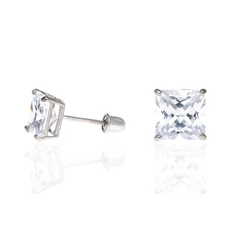 2Ct Created Diamond 14K White Gold Princess Cut Screw Back Stud Earrings 6mm 2ct Tw Stud Earrings