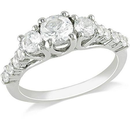 White Sapphire Fashion Ring - 1-1/2 CT TGW Created White Sapphire Fashion Ring in Sterling Silver