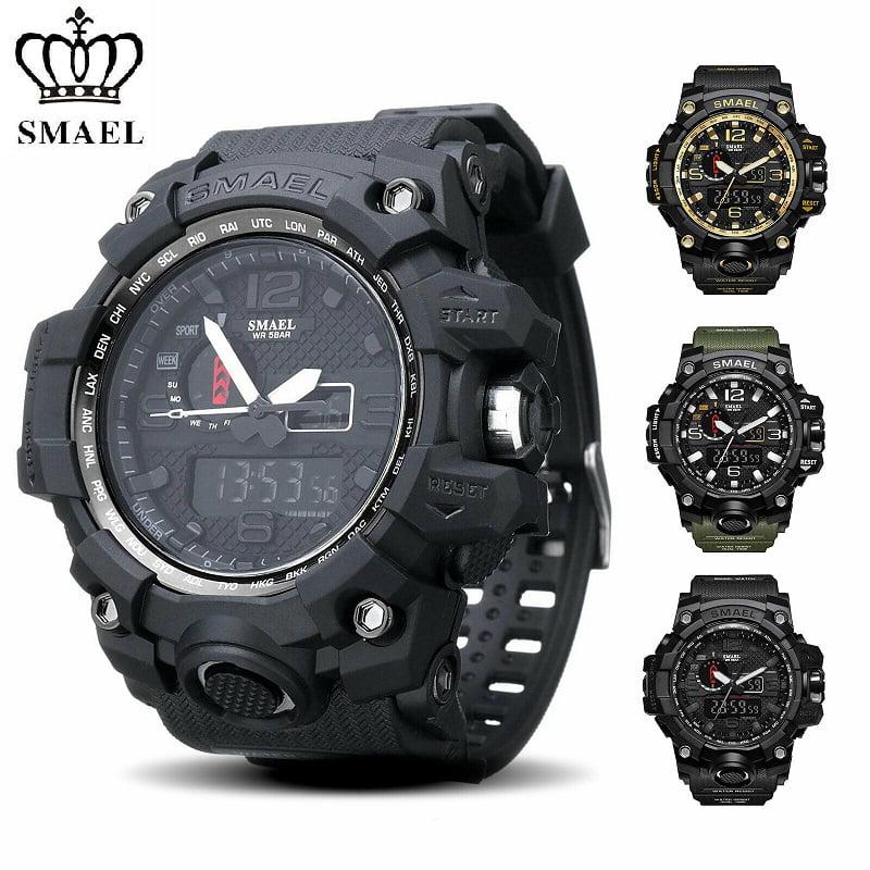 Smael Smael Men Sports Watches Dual Display Analog Digital Led Electronic Quartz Wristwatches Waterproof Swimming Military Watch Walmart Com Walmart Com