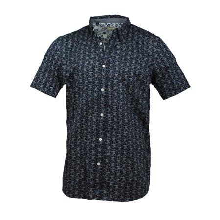 df92de2c188 Method - Method Mens Short Sleeve Woven Button Up Shirt (Dress Blues Islands