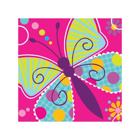 Club Pack of 192 Butterfly Sparkle Premium 3-Ply Disposable Party Beverage Napkins 5