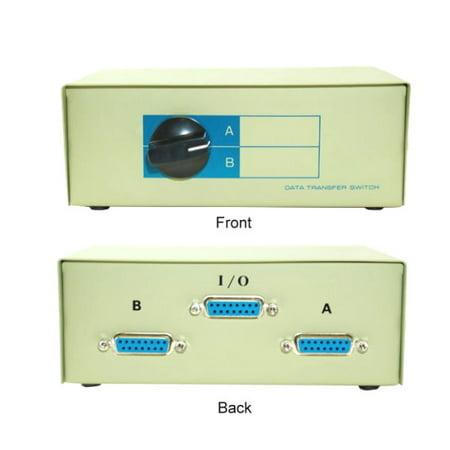 Kentek DB15 2 Way Manual Data Switch Box 15 Pin I/O AB Female Port for PC MAC Monitors MIDI Devices -