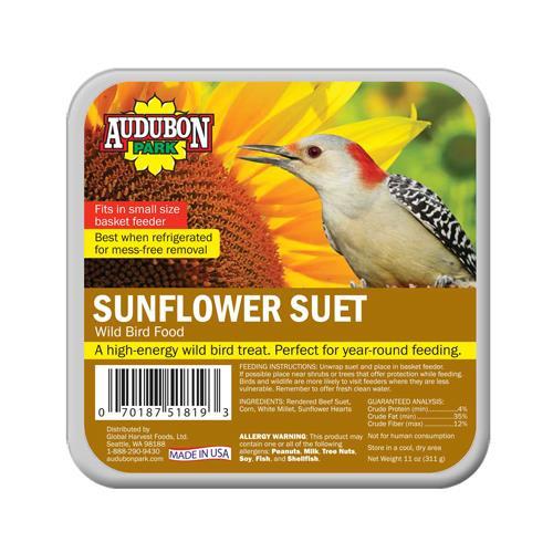 Global Harvest Foods 10677 Wild Bird Suet, Sunflower, 11-oz.