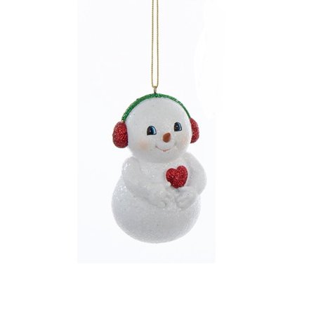 """Kurt S. Adler 3.75"""" Chubby Snowman with Ear Muffs Hanging Christmas Ornament - White/Red"""