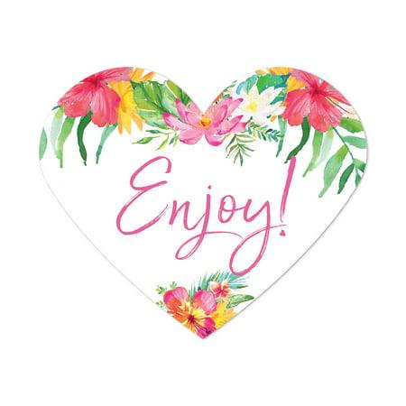 Tropical Floral Garden Party Wedding, Heart Label Stickers, Enjoy!, 75-Pack, Destination Wedding Miami - Wholesale Wedding Supplies Miami