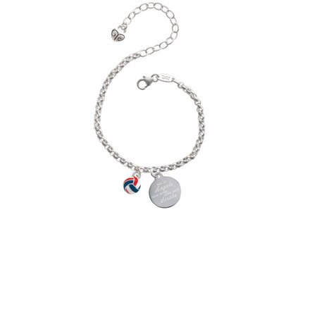 3-D Red White & Blue Volleyball Not All Angels Have Wings Some Wear Scrubs Engraved Bracelet - Red White And Blue Bracelet