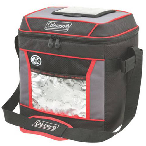 Coleman 30-Can Insulated Soft Cooler with 24-Hour Ice Retention, Red/Black