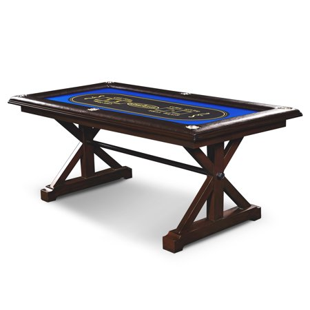 Barrington Premium Solid Wood Poker Table, including board games, card games, and other casino games, Brown/Blue