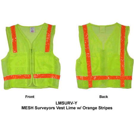 MESH Surveyors Vest Lime w/ Orange Stripes XL size
