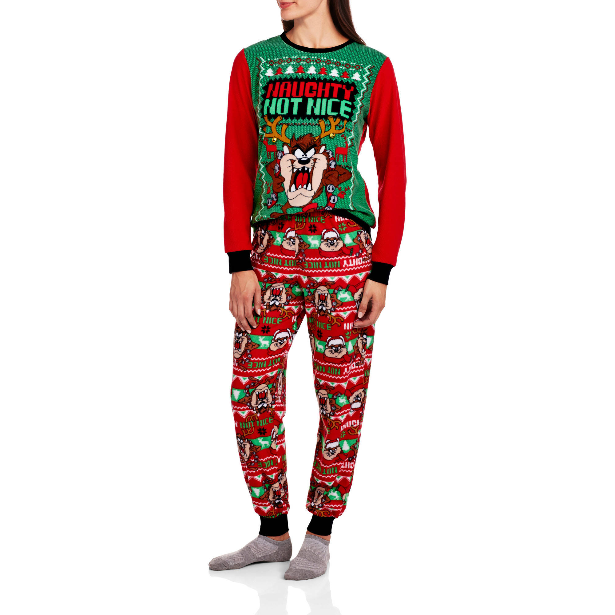 LICENSE - Womens Fleece Taz Ugly Sweater Pajamas Holiday Sleep Set -  Walmart.com 18065fa1b