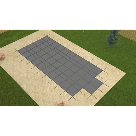 Hpi 14X28 Aqua Master Gray Rectangle Solid Swimming Pool Safety Cover W Step