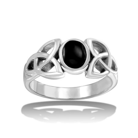Oval Simulated Onyx Wiccan Sides Ring High Polished Sterling Silver Size 8