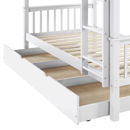Walker Edison Solid Wood Twin Trundle Bed in White
