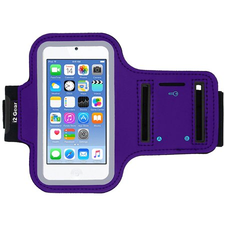 iPod Touch 6th Generation (6G) Exercise & Running MP3 Player Armband Case with Key Holder (Purple)