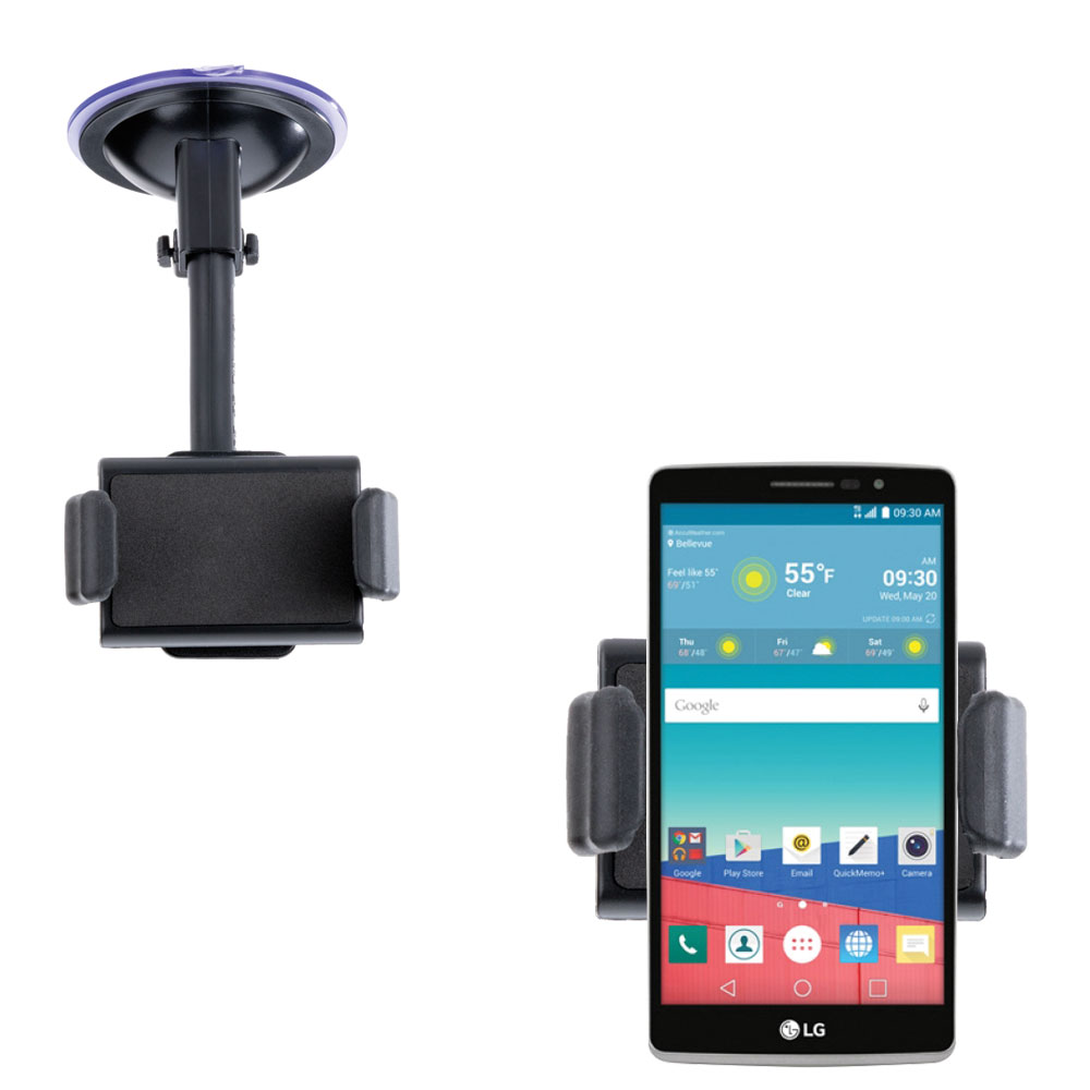 Gomadic Brand Ultra Compact Flexible Car Auto Windshield Holder Mount designed for the LG Stylo 3 - Gooseneck Suction Cup Style Cradle