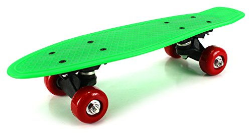 "Mini Street Cruiser Complete 17"" Banana Skateboard w  ABEC-5 Bearings (Green) by Velocity Toys"
