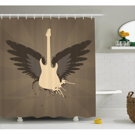 Modern Decor Shower Curtain Music Themed Rocker Metal Head Guitar Art Print Fabric Bathroom