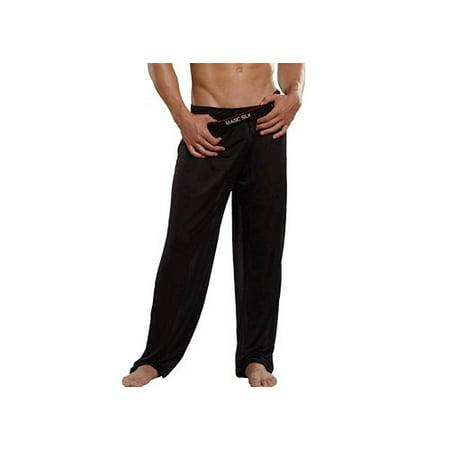 Magic Silk Mens Black Silk/Knit Lounge Pant 1886-B - Magic Silk Lounge Pants