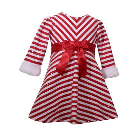 0bcaf1348d8 Infant Girls Red Candycane Stripe Christmas Holiday Party Dress Baby Outfit  - Walmart.com
