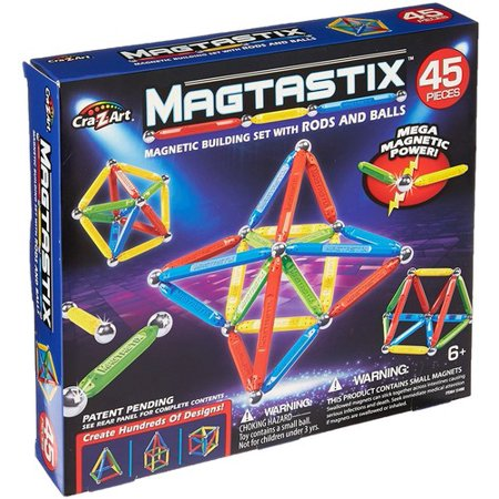 Magtastix 45 Piece Balls and Rods Multicolor Magnetic Set