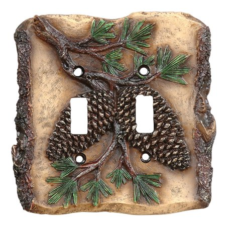 Pinecone Cabin Double Switch Plate - Wilderness Decor