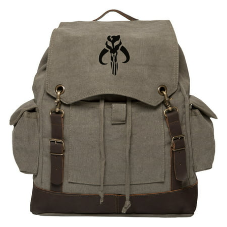 Star Wars Mandalorian Skull Boba Fett Canvas Rucksack Backpack w/ Leather Straps - Boba Fett Jetpack Backpack