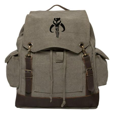 Star Wars Mandalorian Skull Boba Fett Canvas Rucksack Backpack w/ Leather - Boba Fett Jetpack Backpack
