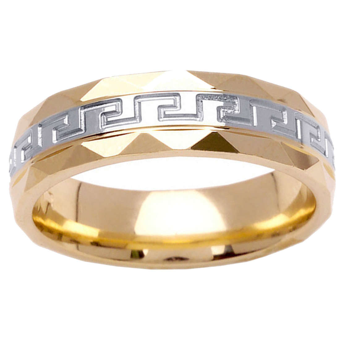 Men Women 14K Two Tone Gold 6mm Greek Key Comfort Fit Wedding Band Promise Ring by